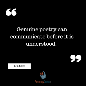 Genuine poetry can communicate before it is understood. - T. S. Eliot